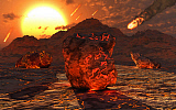 MAS200101S © Stocktrek Images, Inc. Meteorites and asteroids bombard the molten surface of a new planet.