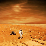 MRC200192S © Stocktrek Images, Inc. A lone astronaut looks up at the sun while exploring Mars.