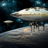 MRC200194S © Stocktrek Images, Inc. A fleet of massive spaceships take position over Earth for a coming invasion.