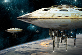 MRC200195S © Stocktrek Images, Inc. A fleet of massive spaceships take position over Earth for a coming invasion.