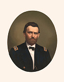 STK500324A © Stocktrek Images, Inc. Oval portrait of Major General Ulysses S. Grant wearing uniform.