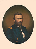 STK500326A © Stocktrek Images, Inc. Oval portrait of Major General Ulysses S. Grant wearing uniform.