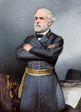 STK500369A © Stocktrek Images, Inc. Confederate General Robert E. Lee in blue uniform.