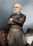 STK500370A © Stocktrek Images, Inc. Confederate General Robert E. Lee in black uniform.