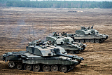 ACH100598M © Stocktrek Images, Inc. Challenger 2 main battle tanks of the British Armed Forces.