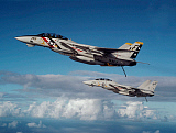 DBR100027M © Stocktrek Images, Inc. Two F-14A Tomcats during operations in the Indian Ocean.