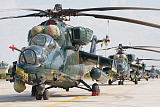 GCA100688M © Stocktrek Images, Inc. Row of Azerbaijan Air Force Mi-35 helicopters.