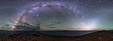 JFD200038S © Stocktrek Images, Inc. The arc of the Milky Way and zodiacal light over Lake Namtso, Tibet, China.