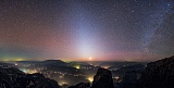 JFD200063S © Stocktrek Images, Inc. Zodiacal light and Milky Way shines brightly above towns and villages in China.