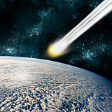 MRC200112S © Stocktrek Images, Inc. An Earth-like planet facing an imminent collision with a comet.