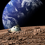 MRC200135S © Stocktrek Images, Inc. A scorched space capsule lies abandoned on a barren moon.