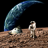 MRC200137S © Stocktrek Images, Inc. An astronaut surveys his situation after being marooned on a barren planet.