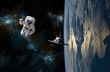 MRC200186S © Stocktrek Images, Inc. An astronaut drifting in space is rescued by a space shuttle orbiting Earth.