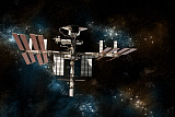 MRC200190S © Stocktrek Images, Inc. Space shuttle docked at the International Space Station on a background of stars.