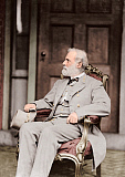 STK500345A © Stocktrek Images, Inc. Confederate Army General Robert E. Lee sitting in chair.