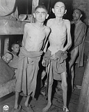 STK500698A © Stocktrek Images, Inc. Men suffering from starvation in a Nazi concentration camp, Ampfing, Germany, 1945.
