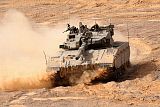 ZDN100212M © Stocktrek Images, Inc. A Merkava III main battle tank in the Negev Desert, Israel.