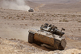 ZDN100213M © Stocktrek Images, Inc. A Merkava III main battle tank in the Negev Desert, Israel.