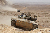 ZDN100214M © Stocktrek Images, Inc. A Merkava III main battle tank in the Negev Desert, Israel.