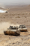 ZDN100215M © Stocktrek Images, Inc. Merkava III main battle tanks in the Negev Desert, Israel.