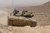 ZDN100216M © Stocktrek Images, Inc. A Merkava III main battle tank in the Negev Desert, Israel.