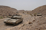 ZDN100217M © Stocktrek Images, Inc. Merkava III main battle tanks in the Negev Desert, Israel.