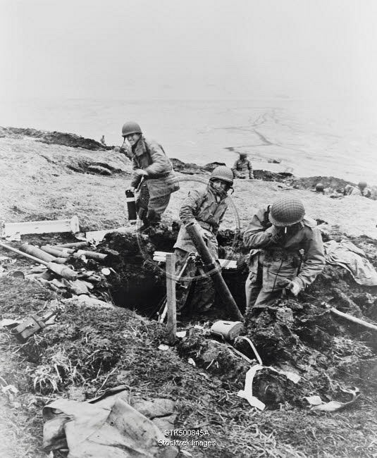 Soldiers Hurling Their Trench Mortar Shells Over A Ridge