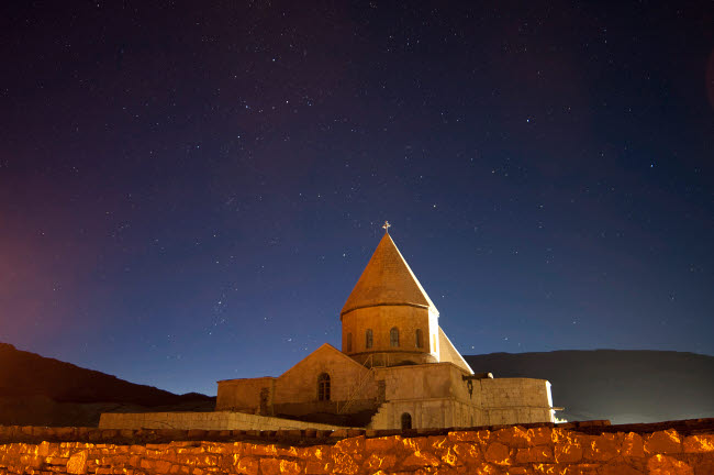AAM200001S © Stocktrek Images, Inc. Starry night sky above Saint Thaddeus Monastery, Iran.