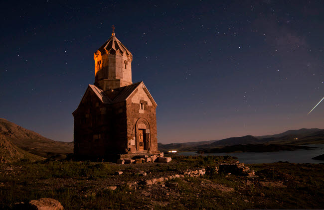 AAM200002S © Stocktrek Images, Inc. Starry night sky above Dzordza church, Iran.
