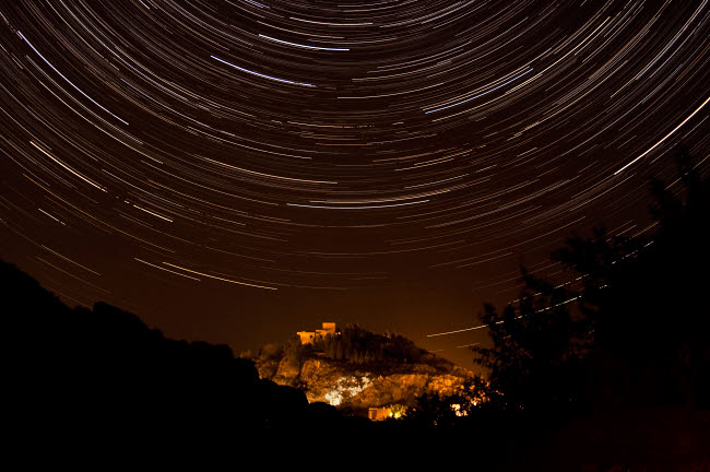 AAM200004S © Stocktrek Images, Inc. Star trails above Kavir National Park, Iran.
