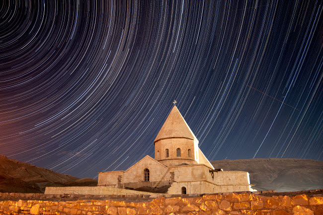 AAM200011S © Stocktrek Images, Inc. Star trails above Saint Thaddeus Monastery, Iran.