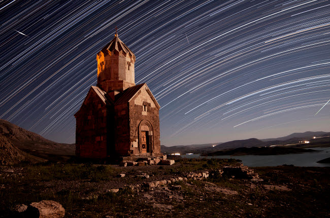 AAM200015S © Stocktrek Images, Inc. Star trails above Dzordza church, Iran.