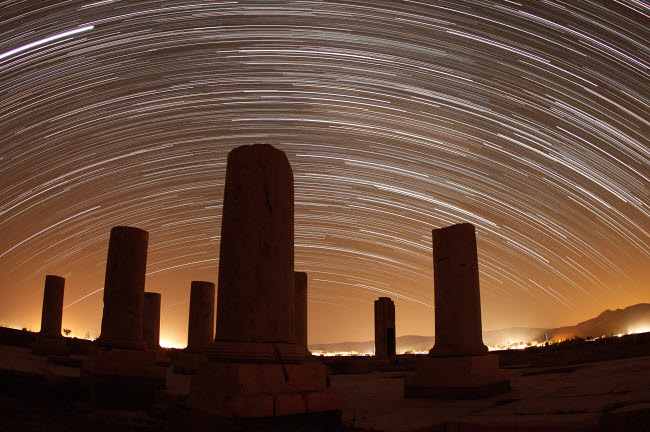 AAM200020S © Stocktrek Images, Inc. Star trails above the Private Palace of Cyrus the Great, Pasargad, Iran.