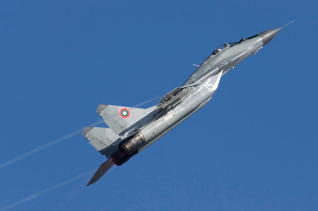 ABA100013M © Stocktrek Images, Inc. A Bulgarian Air Force MiG-29 aircraft taking off over Bulgaria.