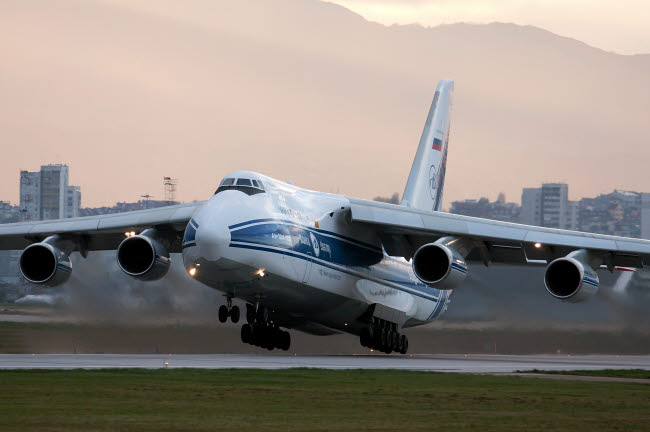 ABA100016M © Stocktrek Images, Inc. An Antonov An-124 aircraft taking off from Sofia Airport, Bulgaria.
