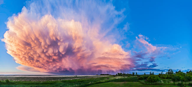 ADY200170S © Stocktrek Images, Inc. Panoramic view of mammatocumulus clouds, Alberta, Canada.
