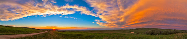 ADY200175S © Stocktrek Images, Inc. Panoramic view of sunset at Reesor Ranch, near Cypress Hills, Alberta, Canda.