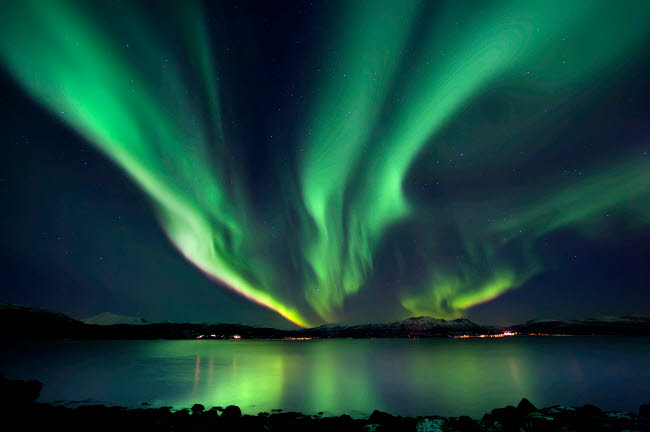 AHE100062S © Stocktrek Images, Inc. Aurora Borealis over Tjeldsundet in Troms County, Norway.