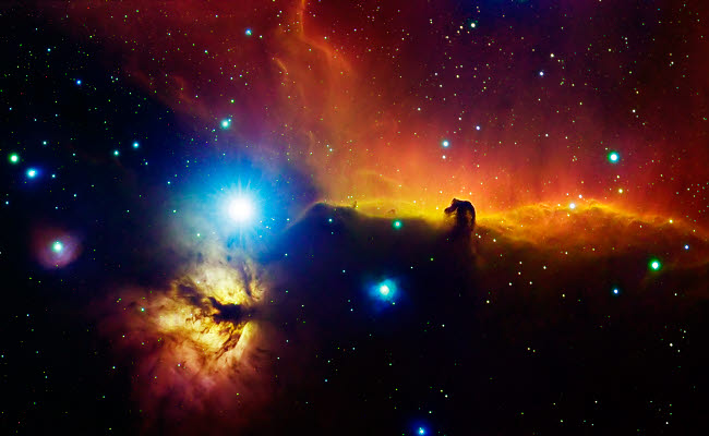 ALV100007S © Stocktrek Images, Inc. Alnitak region in Orion with Flame Nebula (NGC 2024), and Horsehead Nebula.