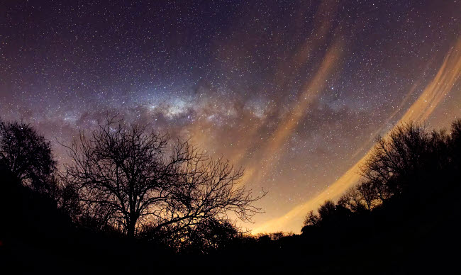 ARG100099S © Stocktrek Images, Inc. The Milky Way behind a rural landscape, Mercedes, Argentina.