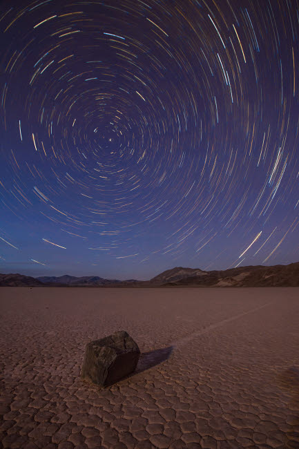 BRR200006S © Stocktrek Images, Inc. Star trails at the Racetrack Playa in Death Valley National Park, California.