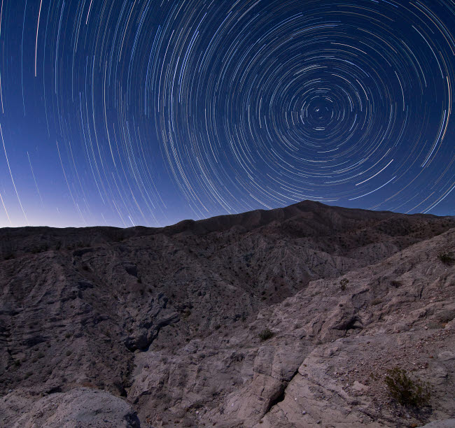BRR200017S © Stocktrek Images, Inc. Star trails above Coachwhip Canyon in Anza Borrego Desert State Park, California.