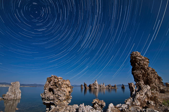 BRR200037S © Stocktrek Images, Inc. Moonlight illuminates the tufa formations at Mono Lake, California.