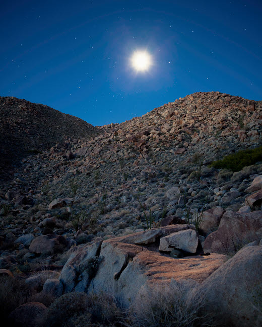 BRR200058S © Stocktrek Images, Inc. Moonlight illuminates the rugged terrain of Bow Willow Canyon, California.