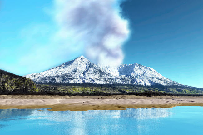 CFR100229S © Stocktrek Images, Inc. Mount Saint Helens simmers after the volcanic eruption.