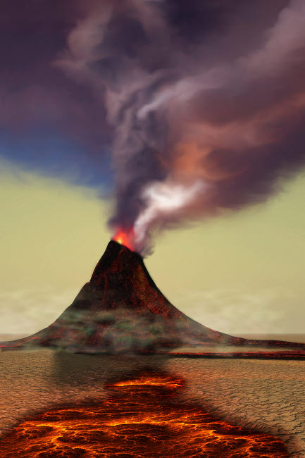 CFR100306S © Stocktrek Images, Inc. A newly formed volcano smokes with hot steam.