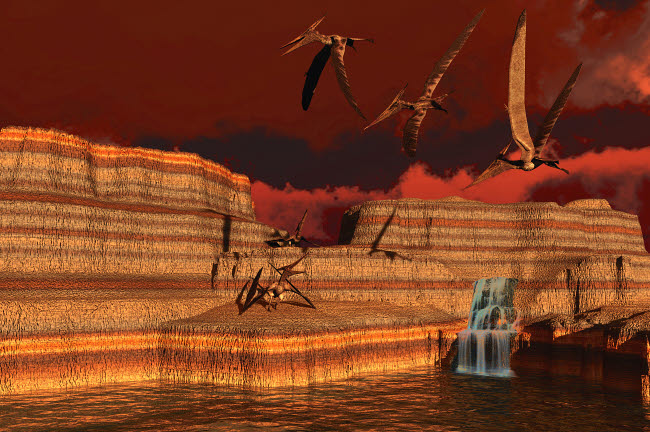 CFR200062P © Stocktrek Images, Inc. Pteranodon dinosaurs in a prehistoric landscape.