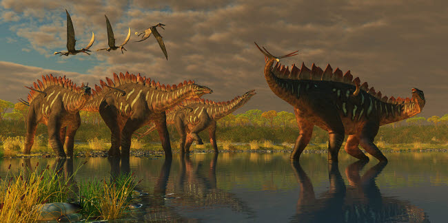 CFR200223P © Stocktrek Images, Inc. A Miragaia dinosaur bellows in protest as others try to join him in the marsh.