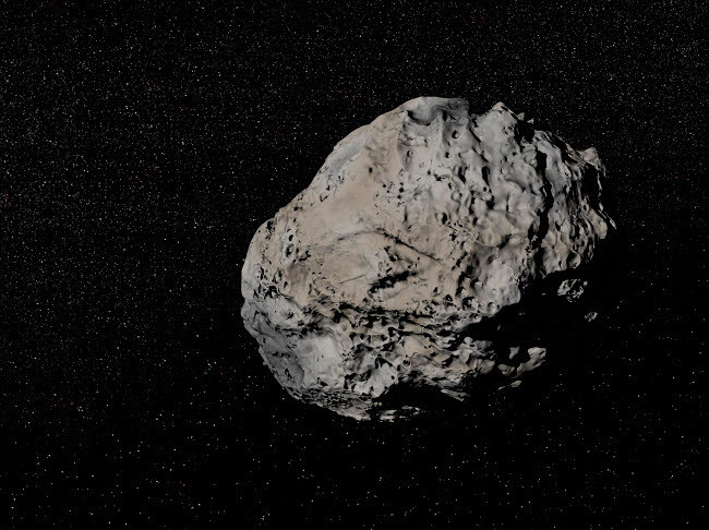 EDV200015S © Stocktrek Images, Inc. Large grey meteorite in the universe full of stars.