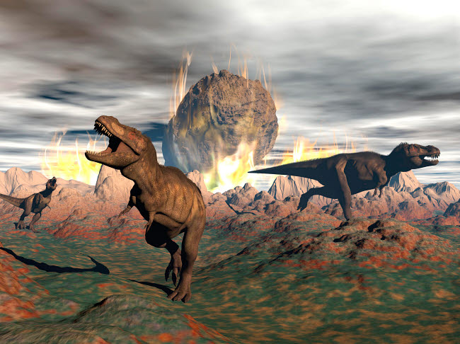 EDV600038P © Stocktrek Images, Inc. Tyrannosaurus Rex dinosaurs escaping a big meteorite crash.